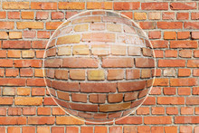 A Brick Wall As Background, Very Sharp Nice Orange Color And Beautiful Structure Seen Through Chrystal Ball