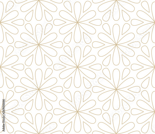 Montage in der Fensternische Künstlich Modern simple geometric vector seamless pattern with gold flowers, line texture on white background. Light abstract floral wallpaper, bright tile ornament