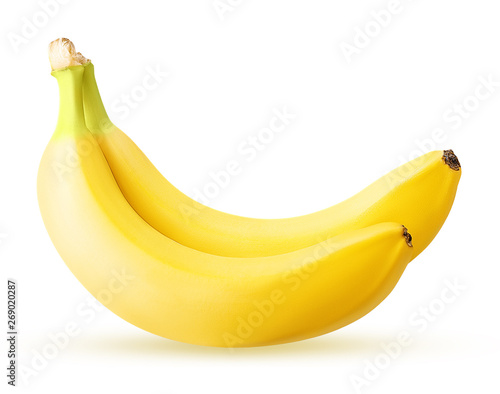 two banana sliced isolated on white background