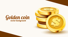 Stack Of Golden Dollar Coins Isolated On White Background. Landing Page Template.