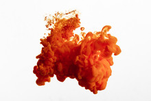 Close Up View Of Orange Paint Splash Isolated On White