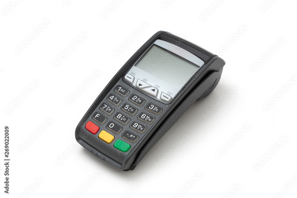 Fototapeta Credit card terminal on white background