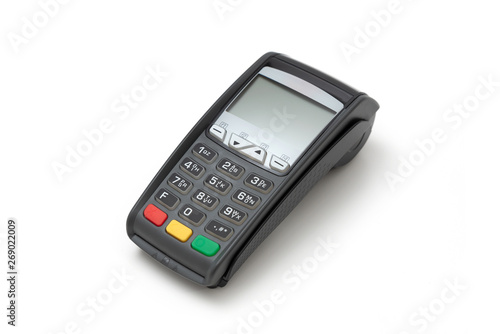 Credit card terminal on white background Billede på lærred
