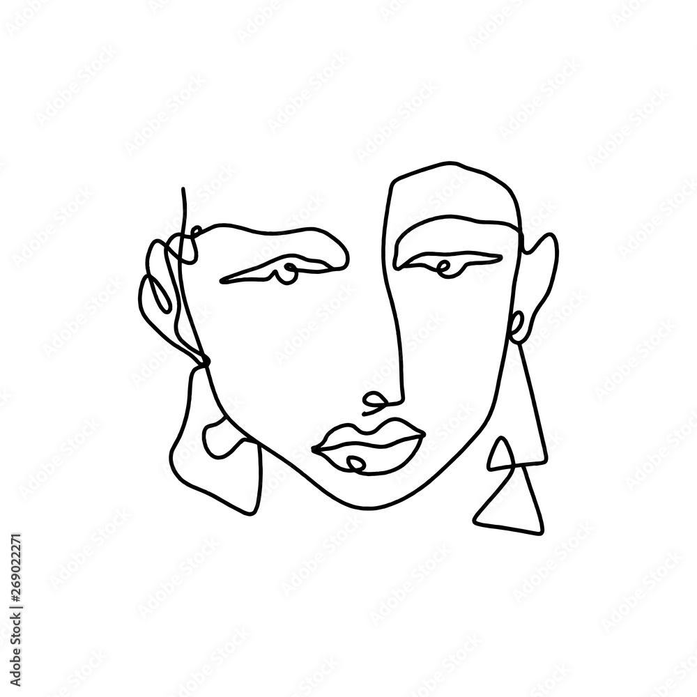 Modern abstract graphic element, stylish hand drawn black and white trendy line portrait art. Monochrome print for clothes, textile and other. Vector