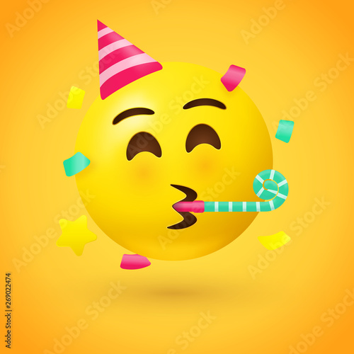 Party face emoji - yellow face with a party hat blowing a party horn as confetti Wallpaper Mural