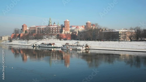 View of the Wawel castle and the Vistula River in Krakow in winter day Canvas Print