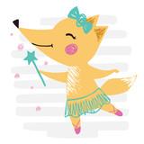 Śliczny nadruk Fox baby girl. Słodkie zwierzę z różdżką, spódnicą baletową, koroną na tle paski - 269025091