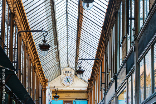 Poster Paris PARIS, FRANCE - APRIL 14, 2019: Covered Passage of Paris are an early form of shopping arcade built in Paris, France