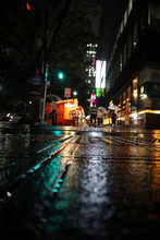 Traffic At Rainy Night
