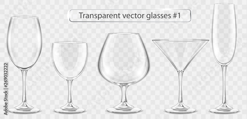 Set of transparent vector glass goblets for wine bar - fototapety na wymiar