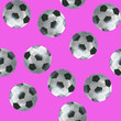 canvas print picture - Football balls on purple background, seamless pattern, acrylic drawn