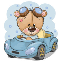 Cartoon Teddy Bear In Glasses Goes On A Blue Car