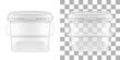 Vector transparent square empty plastic bucket with handle. Front view.