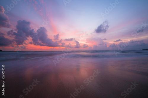 Poster Mer coucher du soleil Sunset on the beach at Thailand
