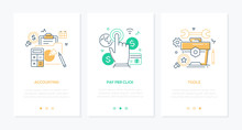 Business And Finance - Set Of Line Design Style Vertical Web Banners