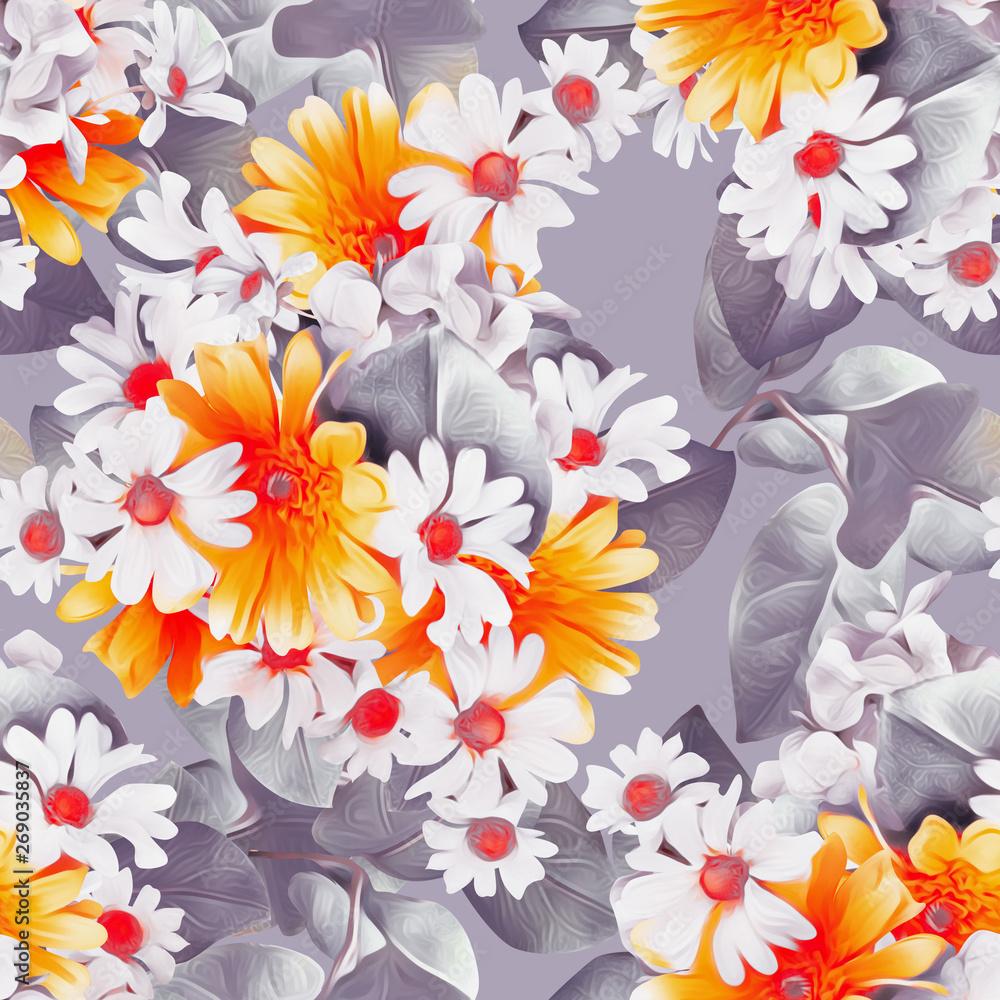 Chamomile flowers seamless pattern.