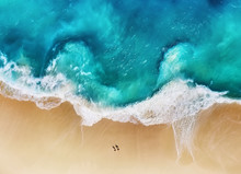 Panorama Of A Coast As A Background From Top View. Turquoise Water Background From Top View. Summer Seascape From Air. Nusa Penida Island, Indonesia. Travel - Image