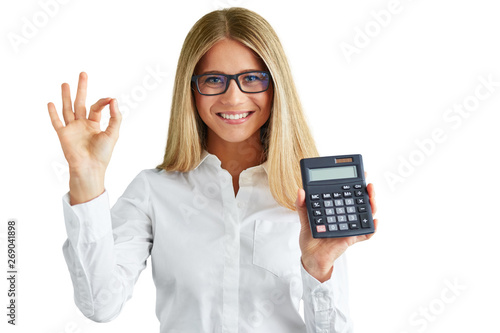 Happy woman with calculator isolated on white background