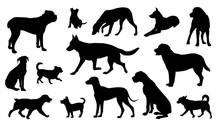 Dogs Silhouettes Vector Set Isolated On White Background, Dogs In Different Poses