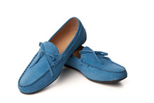 Blue Suede Man's Moccasins Shoes Isolated On White