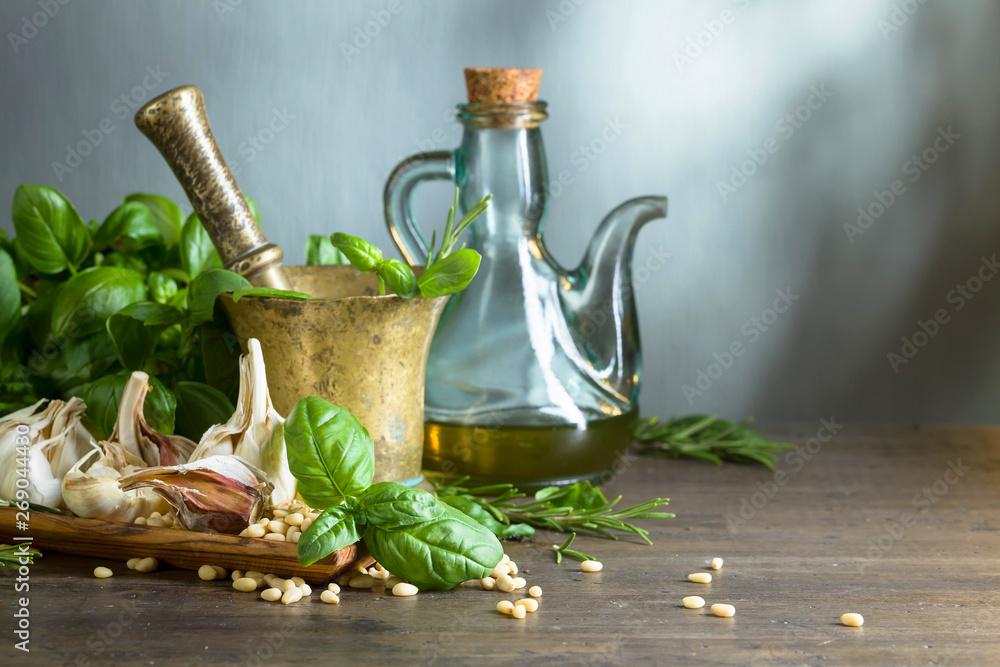 Fototapety, obrazy: Ingredients for pesto.