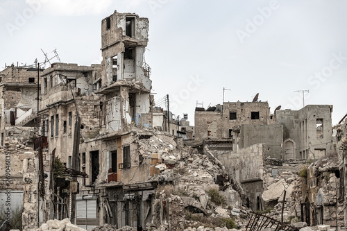 City of Aleppo and destroyed building in Syria 2019 Fototapeta