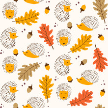 Cute Autumn Themed Pattern - Seamless Hedgehog And Leaves Pattern Illustration