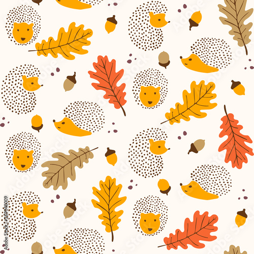 fototapeta na szkło Cute autumn themed pattern - seamless hedgehog and leaves pattern illustration