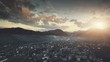 Panoramic Sunset Hill Suburban Town Aerial View. Mountain Cottage Village Scenery Overview. Countryside Settlement Overcast Sky. Clean Ecology Environmental Concept. Drone Fast Flight Footage 4K (UHD)