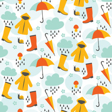 Rainy Day Seamless Pattern Design With Rain Coats, Umbrellas, Clouds, Water Drops, And Other Elements