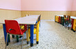 chairs and tables of a refectory of the nursery school