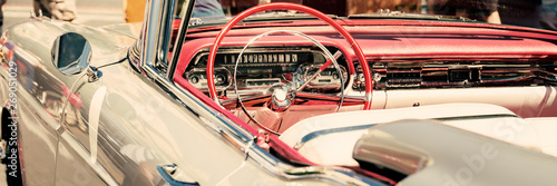 Interior of a classic car, old vintage vehicle close-up