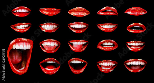 Emotional sexy bright red lips of the female mouth Fototapeta