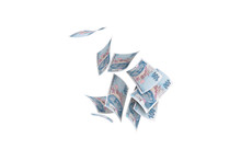 Turkish Liras Banknotes Falling And Flying Around On White