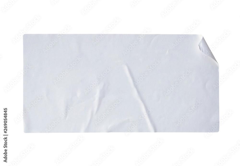 Fototapety, obrazy: white paper sticker label isolated on white background