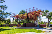 Outdoor Amphitheater Stage In Springtime