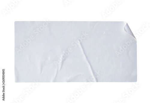 Valokuvatapetti white paper sticker label isolated on white background