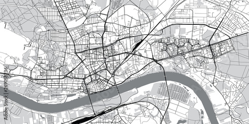 Urban vector city map of Torun, Poland Fototapeta