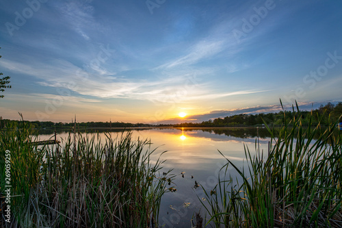Recess Fitting Gray traffic Sun on the Horizon over Calm Lake Waters through Cattail