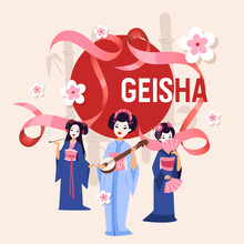 Geisha Vector Japanese Beautiful Young Woman In Fashion Kimono In Japan Illustration Backdrop Set Of Asian Oriental Traditional Costume Background Decoration Wallpaper