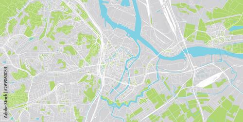 Canvas Print Urban vector city map of Gdansk, Poland