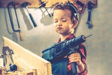 Child Fathers Day Concept, Carpenter Tool,  Worker.