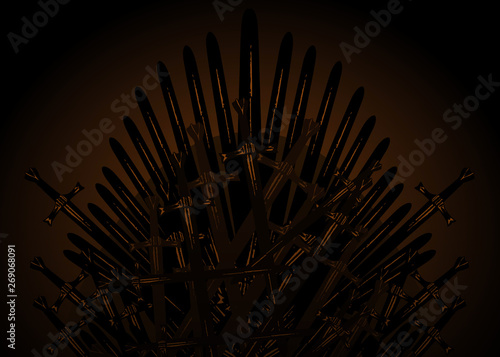 Hand drawn iron throne of the Middle Ages made of antique swords or metal blades Tablou Canvas
