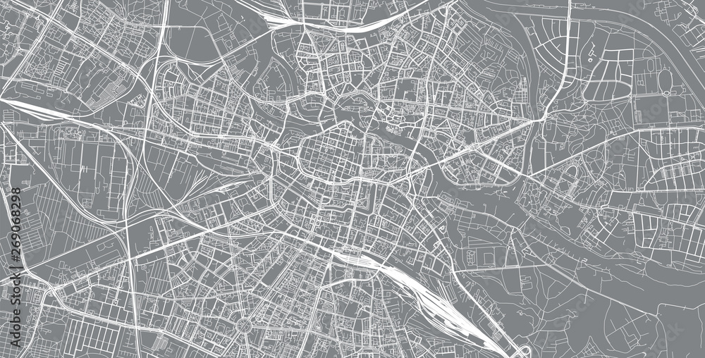 Fototapeta Urban vector city map of Wroclaw, Poland