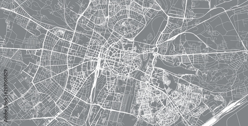 Urban vector city map of Poznan, Poland Tablou Canvas