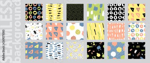 Fototapeten Künstlich Trendy vector seamless colorful pattern with brush strokes. Design backgrounds for wallpaper, cover. Vector illustration