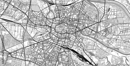 Urban vector city map of Wroclaw, Poland Obraz na płótnie