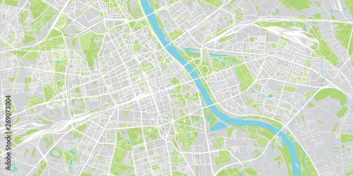 Urban vector city map of Warsaw, Poland