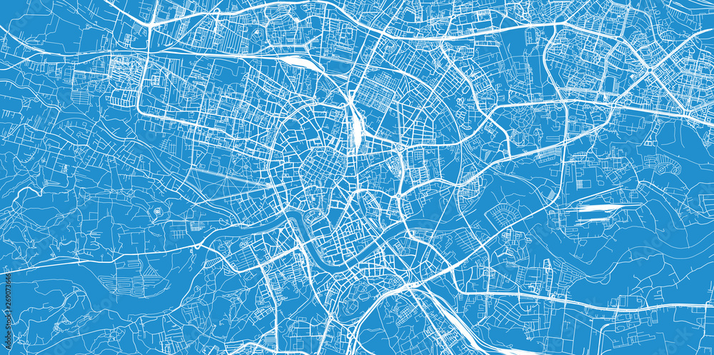 Obraz Urban vector city map of Krakow, Poland fototapeta, plakat