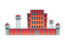 Prison, Jail Building Fenced W...